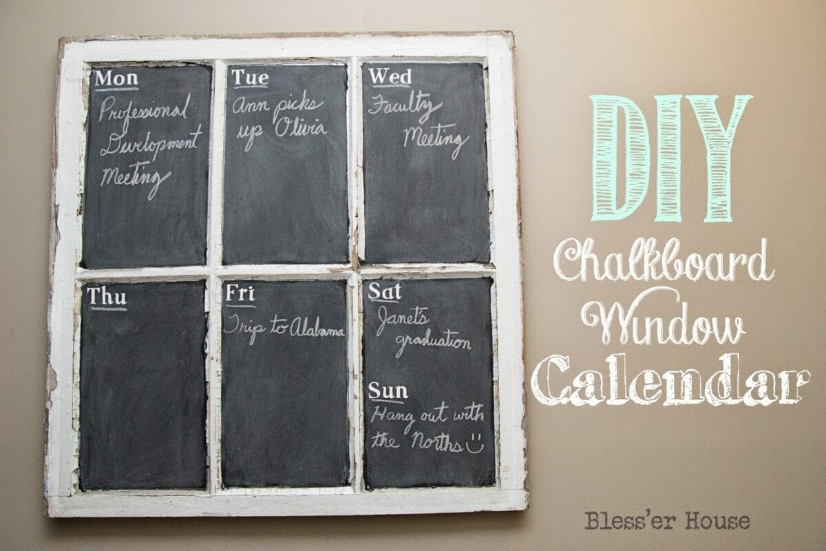 Diy chalkboard window calendar bless 39 er house for Diy chalk paint problems