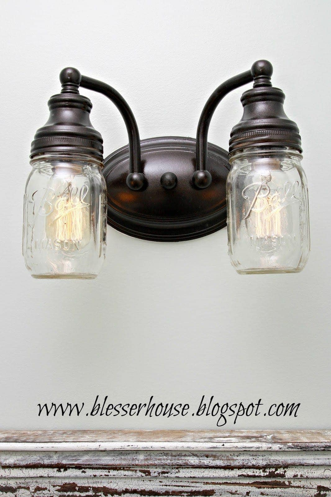 diy mason jar vanity light bless 39 er house. Black Bedroom Furniture Sets. Home Design Ideas
