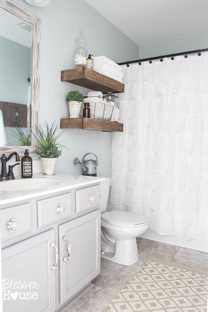 Modern farmhouse bathroom makeover reveal for Small bathroom upgrade ideas
