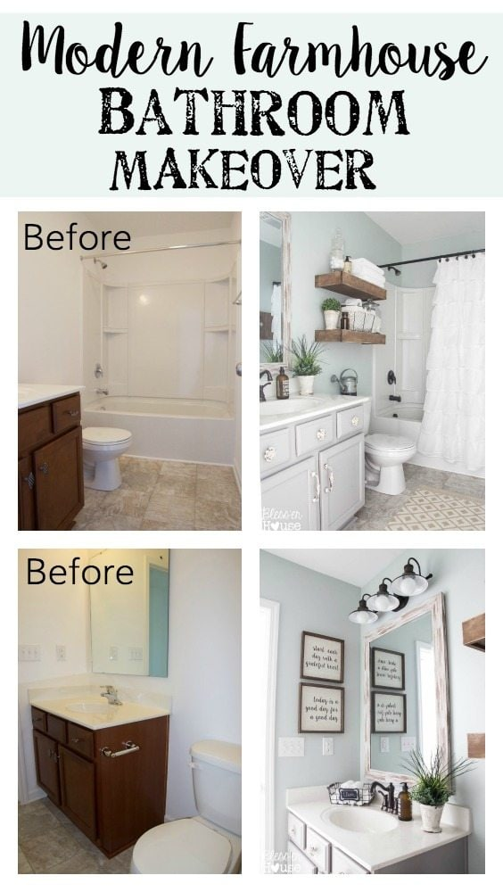 Modern farmhouse bathroom makeover bless 39 er house so for Bathroom makeover ideas