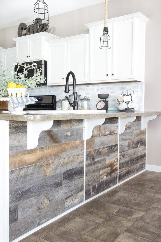 DIY Reclaimed Wood Bar | blesserhouse.com - A quick and easy tutorial to get a rustic reclaimed look on a kitchen bar with Stikwood.