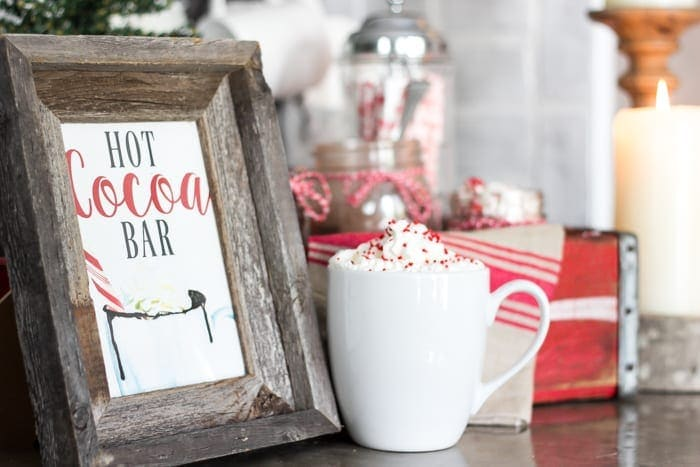 Soda Crate Hot Cocoa Bar & Free Printable Sign | blesserhouse.com - Tips to set up a simple holiday hot cocoa bar using items already around your house plus a free downloadable hot cocoa bar sign printable.