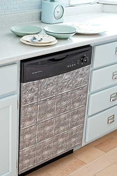 Faux in tiles over a dishwasher. Go to hardware store and get foam tape too!