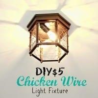 Thrifted Chicken Wire Light Fixture