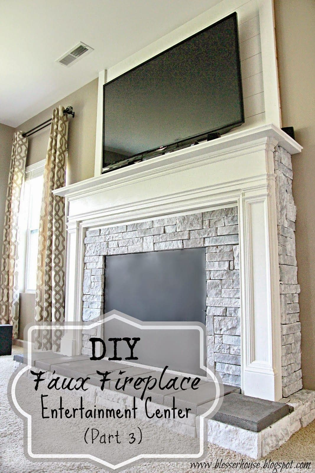 faux fireplace with Air Stone