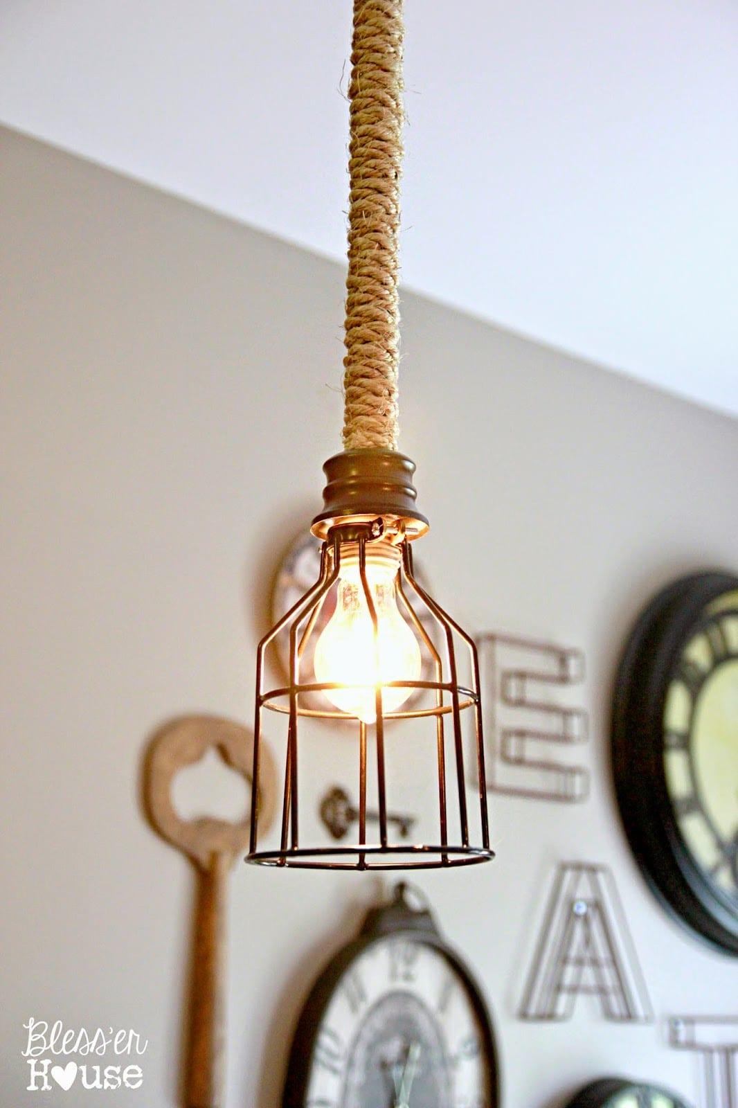 DIY Industrial Pendant Light: Bless'er House
