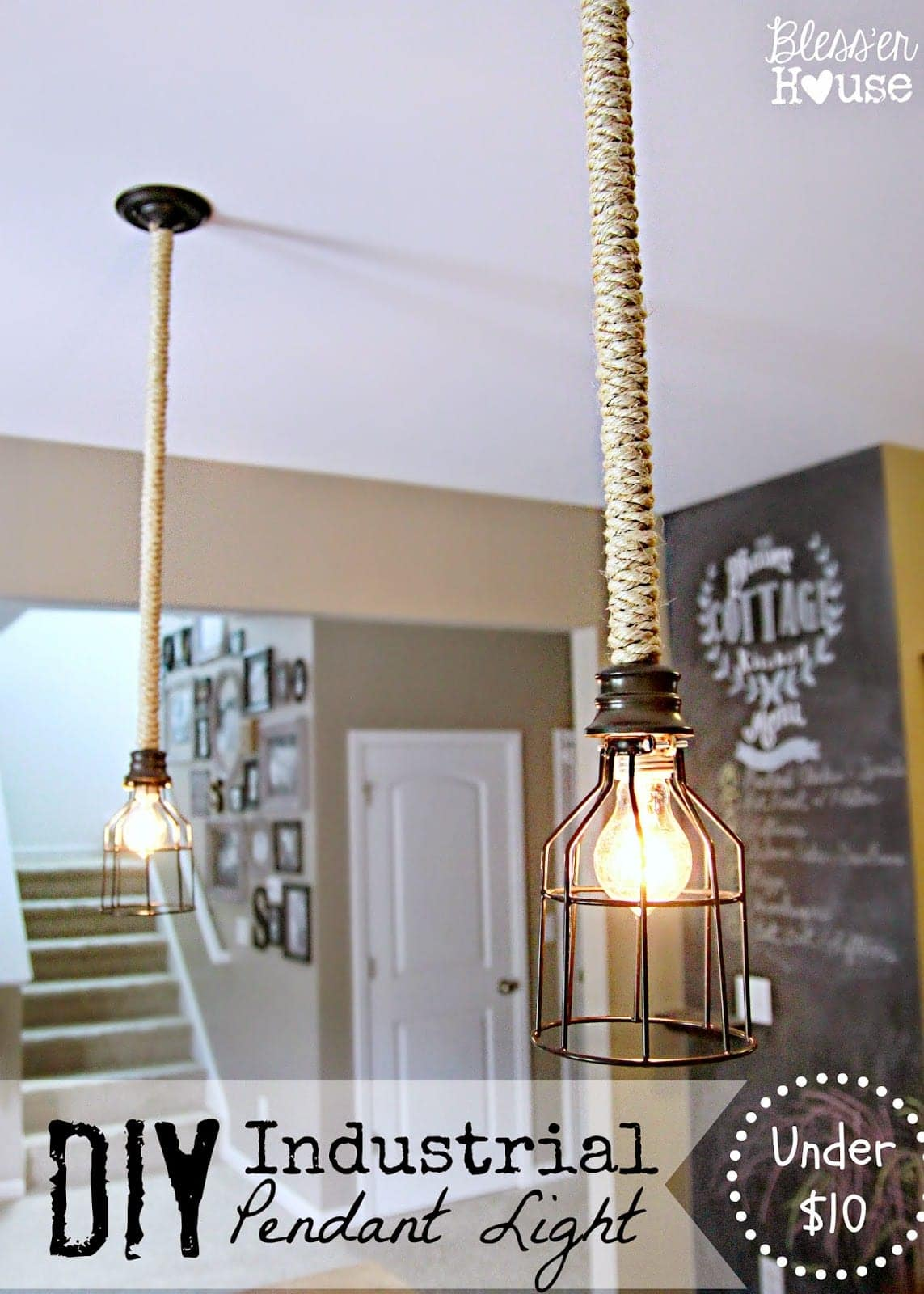 diy industrial pendant light for under $10 - bless'er house