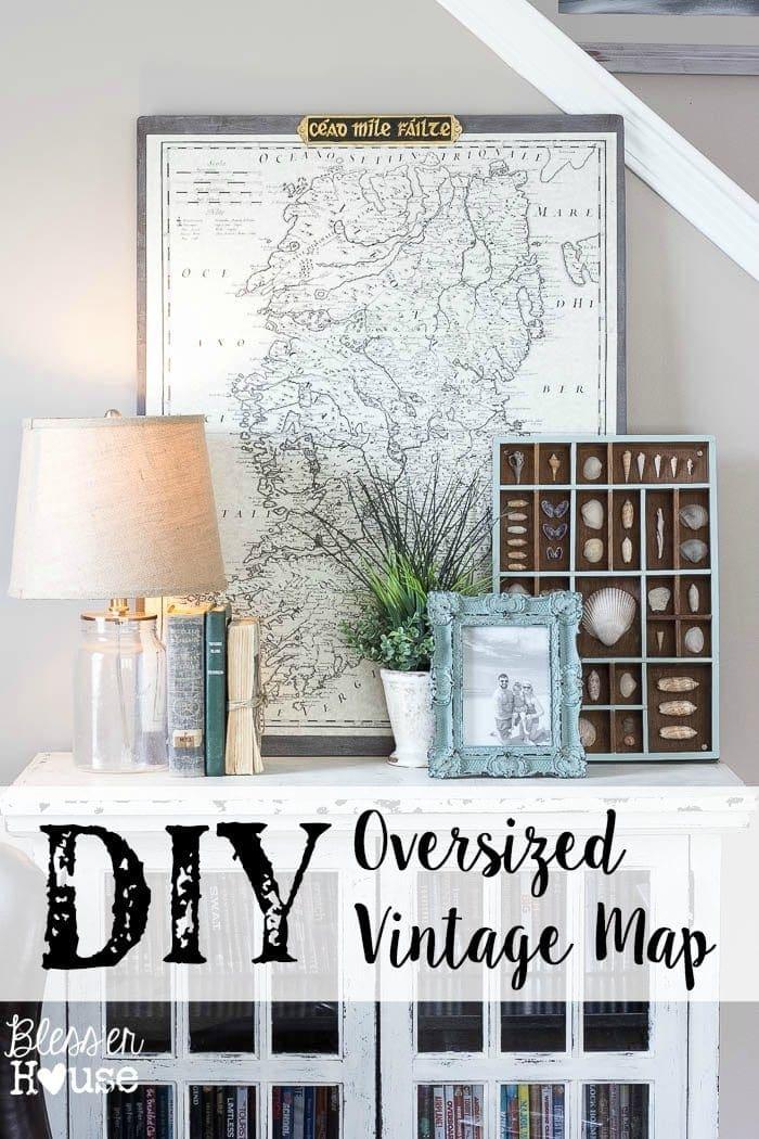 DIY Oversized Vintage Map Blesser House - Oversized vintage maps