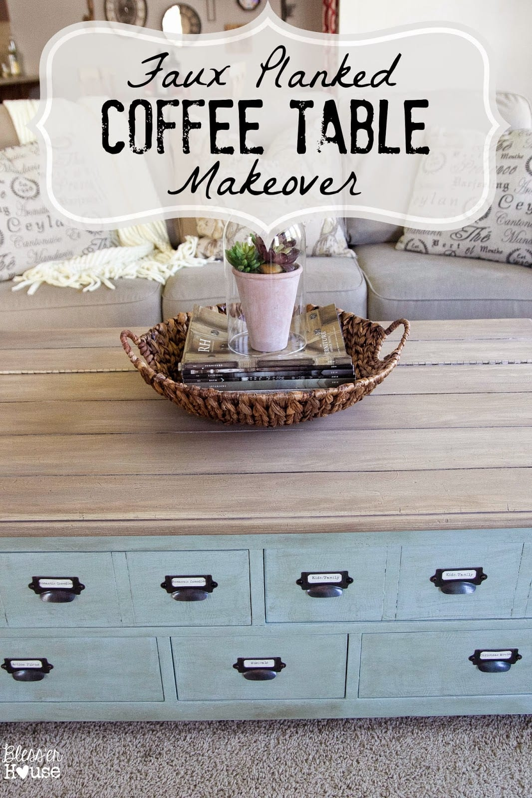 Faux Planked Coffee Table Makeover Card Catalog StyleBlesser