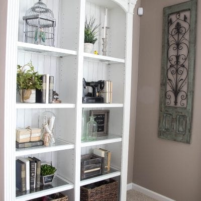 How to Make a Faux Planked Eclectic Bookcase