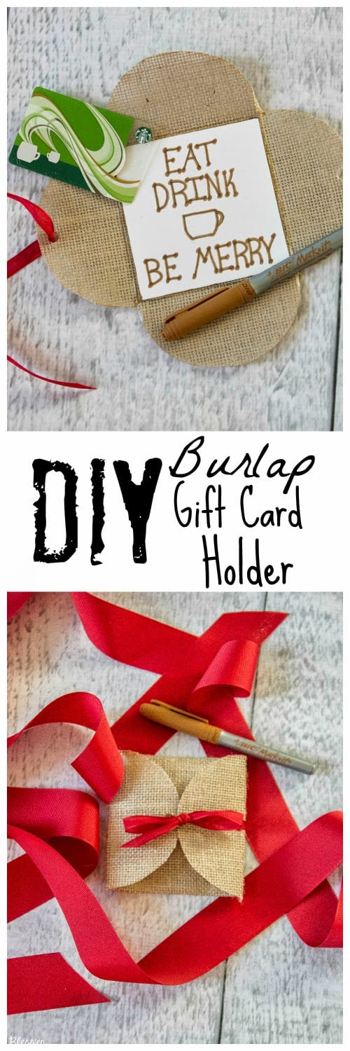 Christmas Craft: Burlap Gift Card Holder