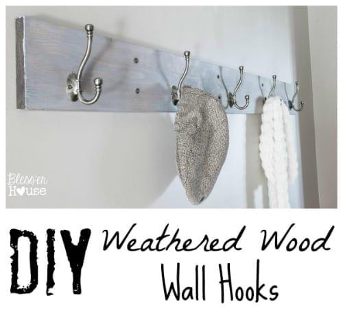 DIY Weathered Wood Wall Hook Rack- Entryway Progress