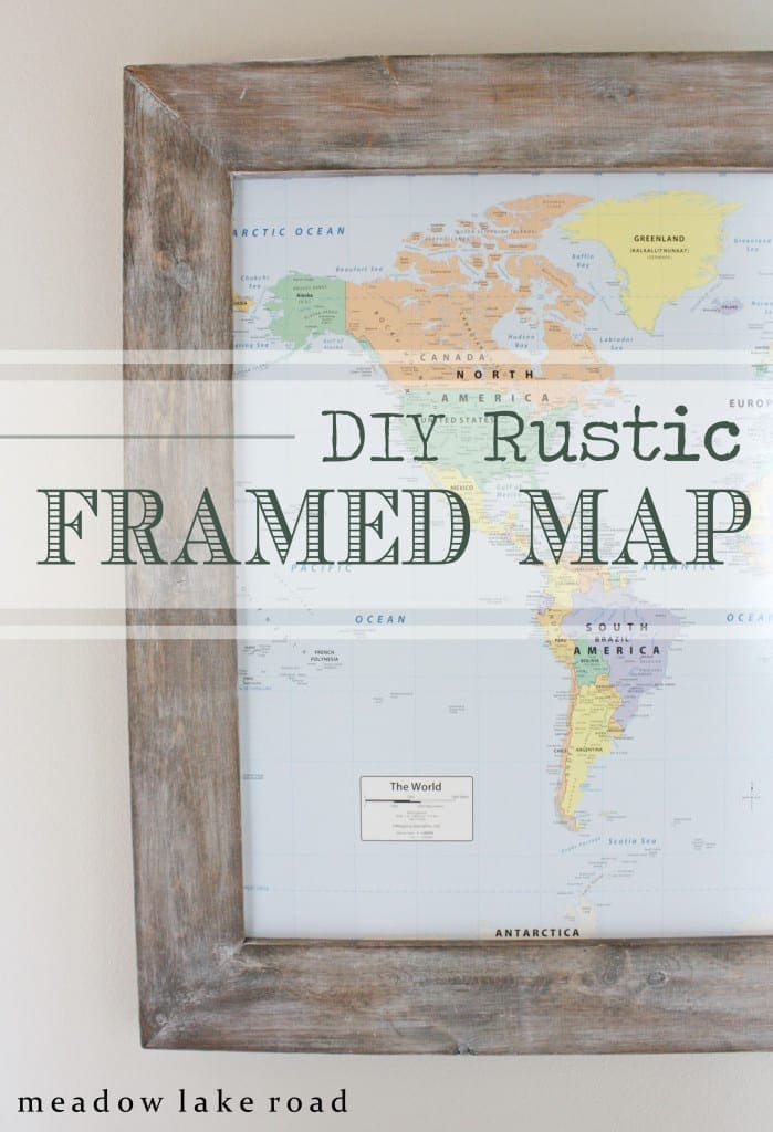 diy rustic framed world map