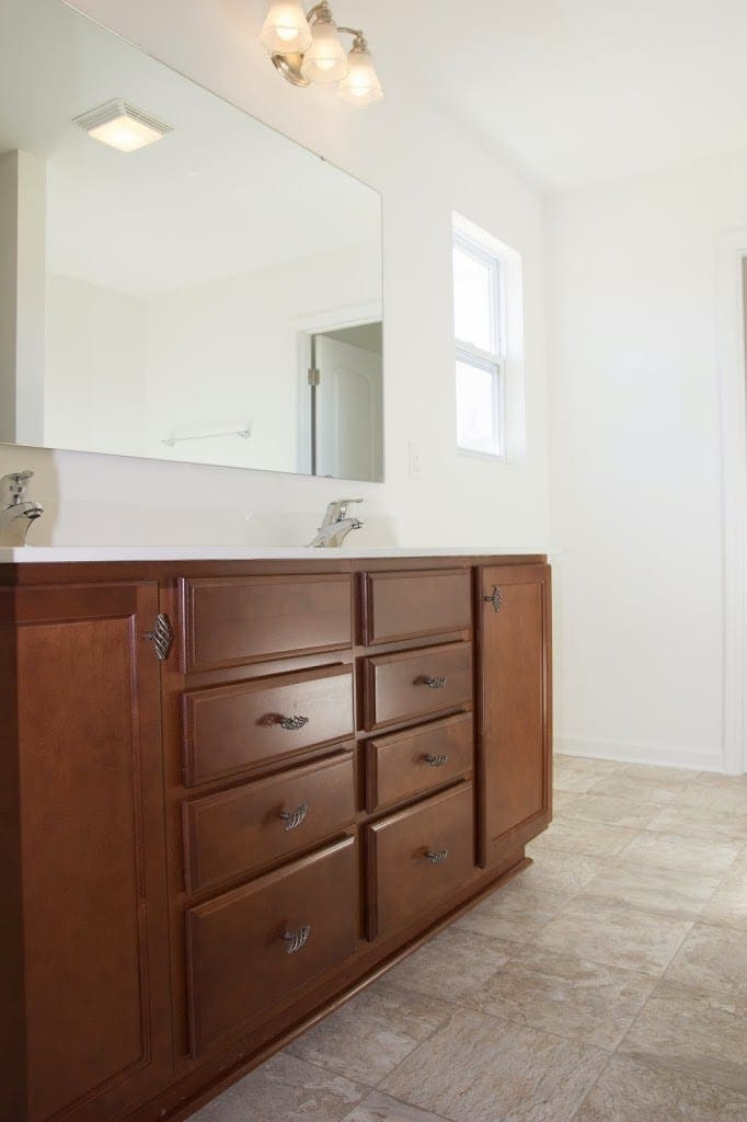 builder bathroom makeover master bathroom budget makeover builder grade to rustic 12201