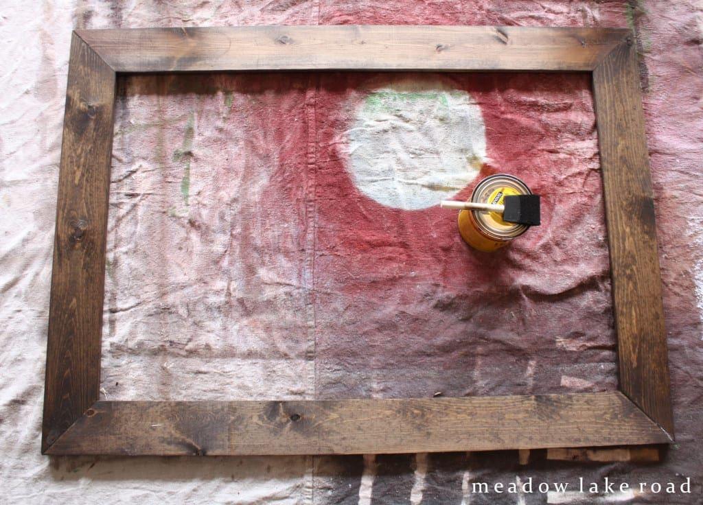dark walnut stained wood frame