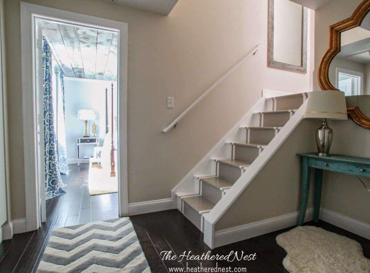 Painted Stripe Stairway Runner | Brightened Up Basement Stairway Makeover
