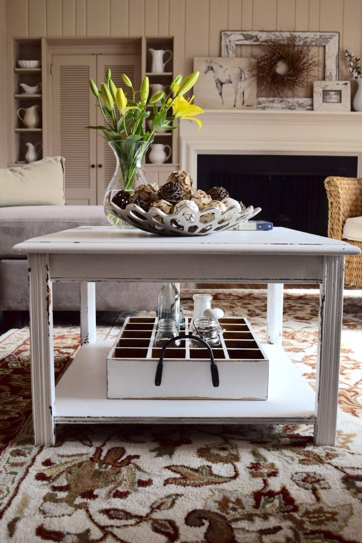 Thrift End Table to Farmhouse Coffee Table Makeover Bless er House