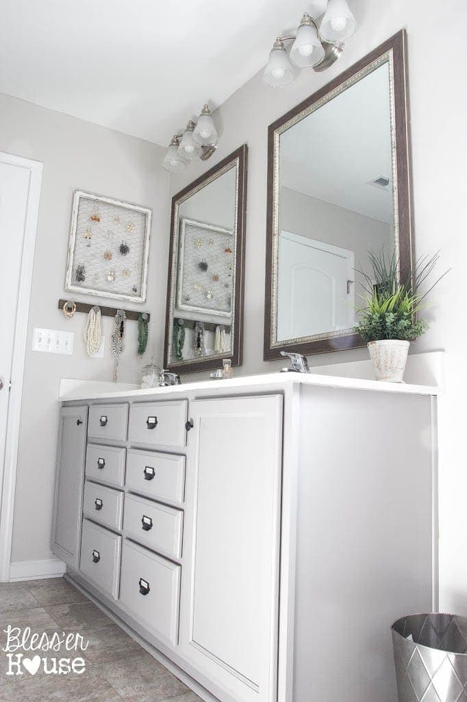 Master Bathroom Makeover: Painted Card Catalog Cabinets - Bless\'er House