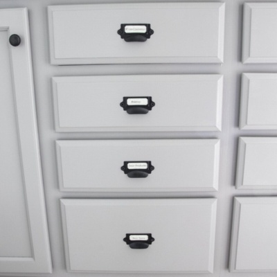 Master Bathroom Makeover: Painted Card Catalog Cabinets