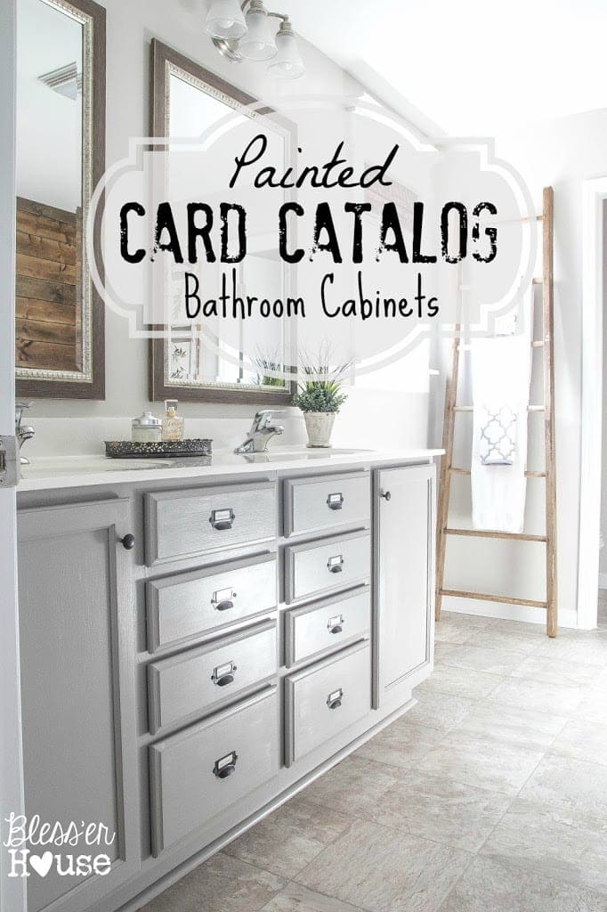 Master Bathroom Makeover Painted Card Catalog Cabinets