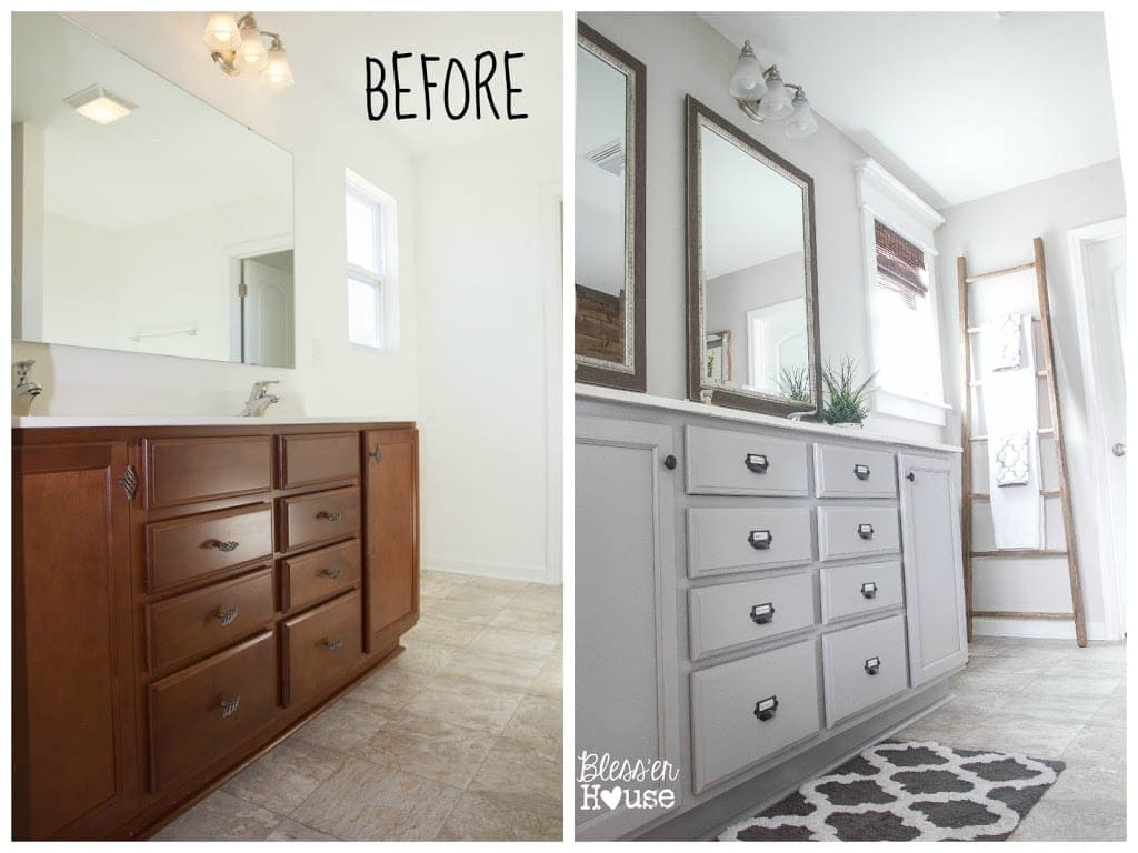 Master bathroom budget makeover builder grade to rustic for The bathroom builders