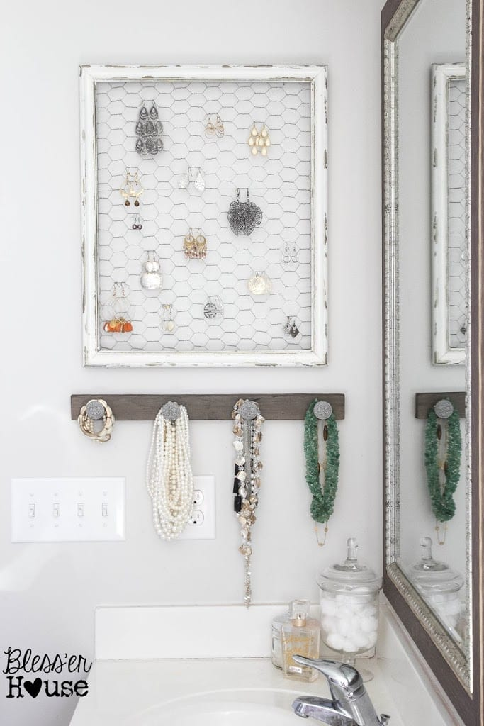 Images Of Bathroom Wall Decor : Diy rustic industrial jewelry organizer bless er house