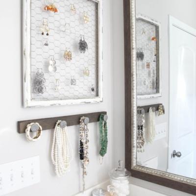 DIY Rustic Industrial Jewelry Organizer