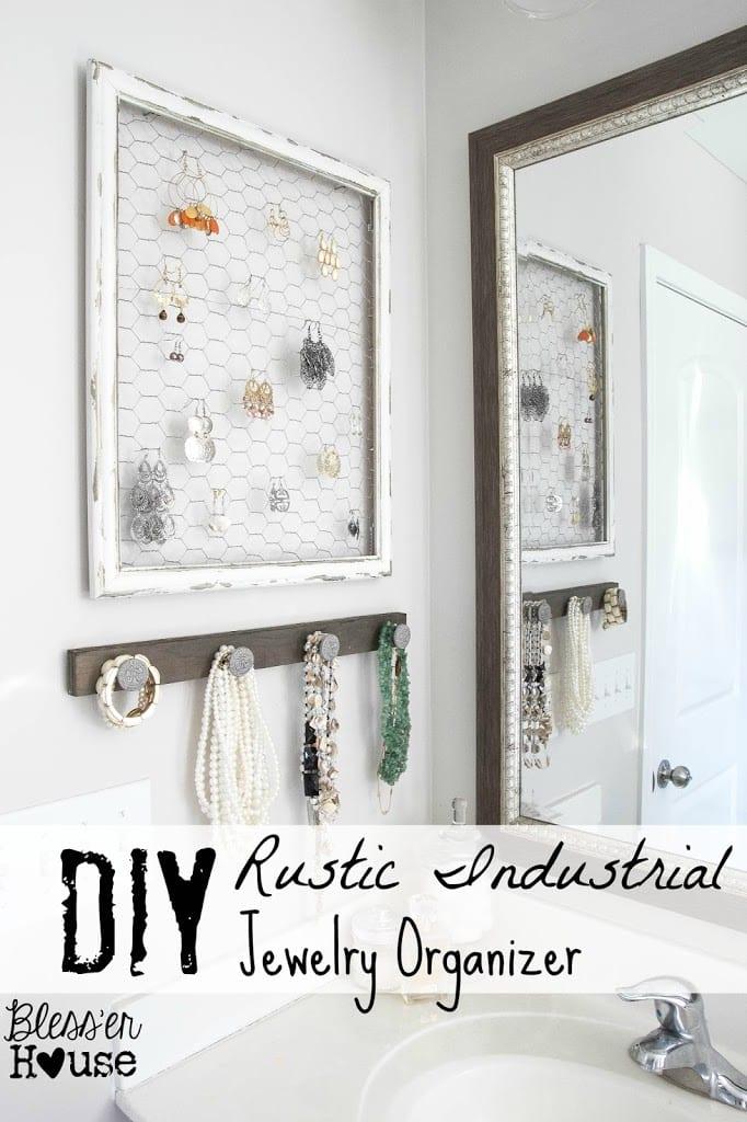 DIY Rustic Industrial Jewelry OrganizerBlesser House