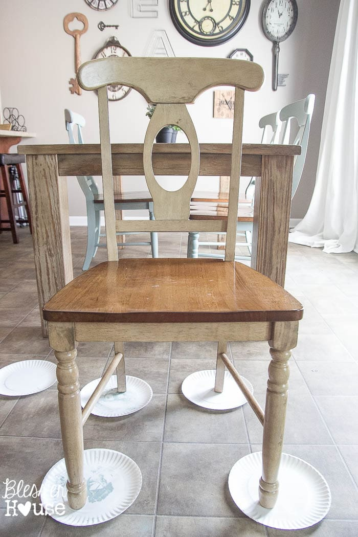 Duck Egg Blue Distressed Dining Chairs 2 Of 14
