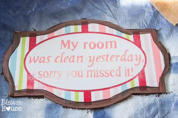 Simple and Cheap French Rustic Bathroom Sign | Bless'er House
