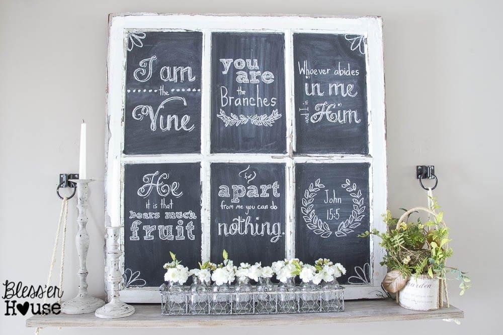 How to Make Chalkboard Hand Lettering the Easy Way & Spring Shelf Vignette | Bless'er House