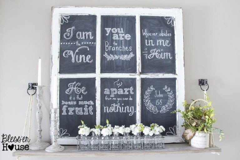 Chalkboard Hand Lettering the Easy Way & Spring Shelf Vignette