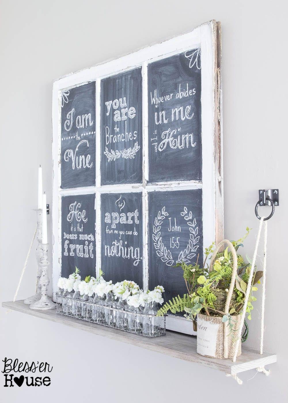 spring-chalkboard-how-to-hand-lettering (5 of 4How to Make Chalkboard Hand Lettering the Easy Way & Spring Shelf Vignette | Bless'er House