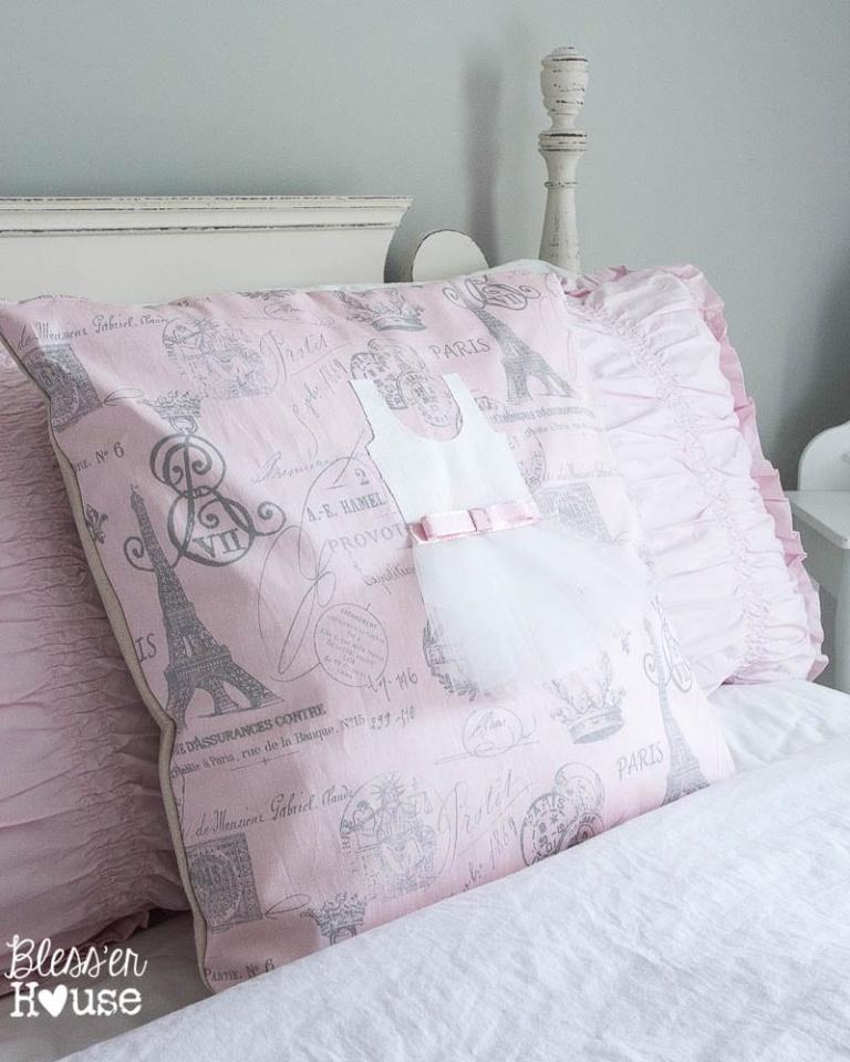 No Sew Appliqued Ballerina Pillow