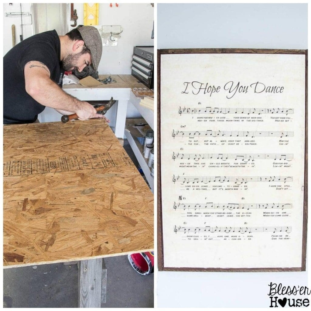 10 Must-Have Craft Supplies for Endless Money Saving Projects | Bless'er House - An oversized sheet music sign made from scrap wood