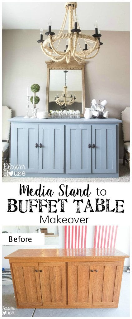 Media Stand to Buffet Table Makeover | Bless'er House