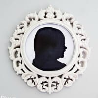 DIY Silhouette Art and Repurposed Ceiling Medallion Frames