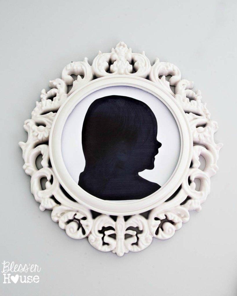 DIY Silhouette Art and Repurposed Ceiling Medallion Frames (+ Free Printable) | Bless'er House