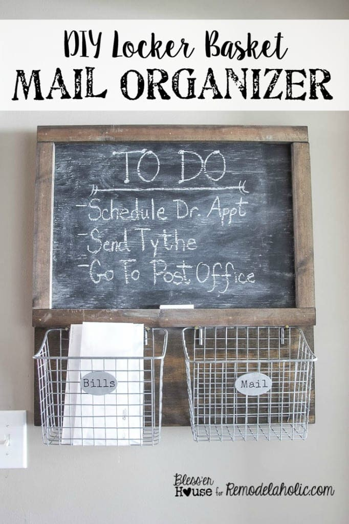 This all natural wood stain method was used to make this DIY Locker Basket Mail Organizer