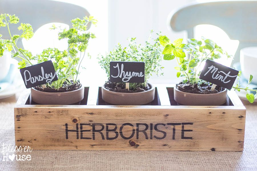 Repurposed Shelf Herb Garden Box | Bless'er House - So cute and easy and looks vintage!  Might even be able to do this with an old CD shelf. Hmm...