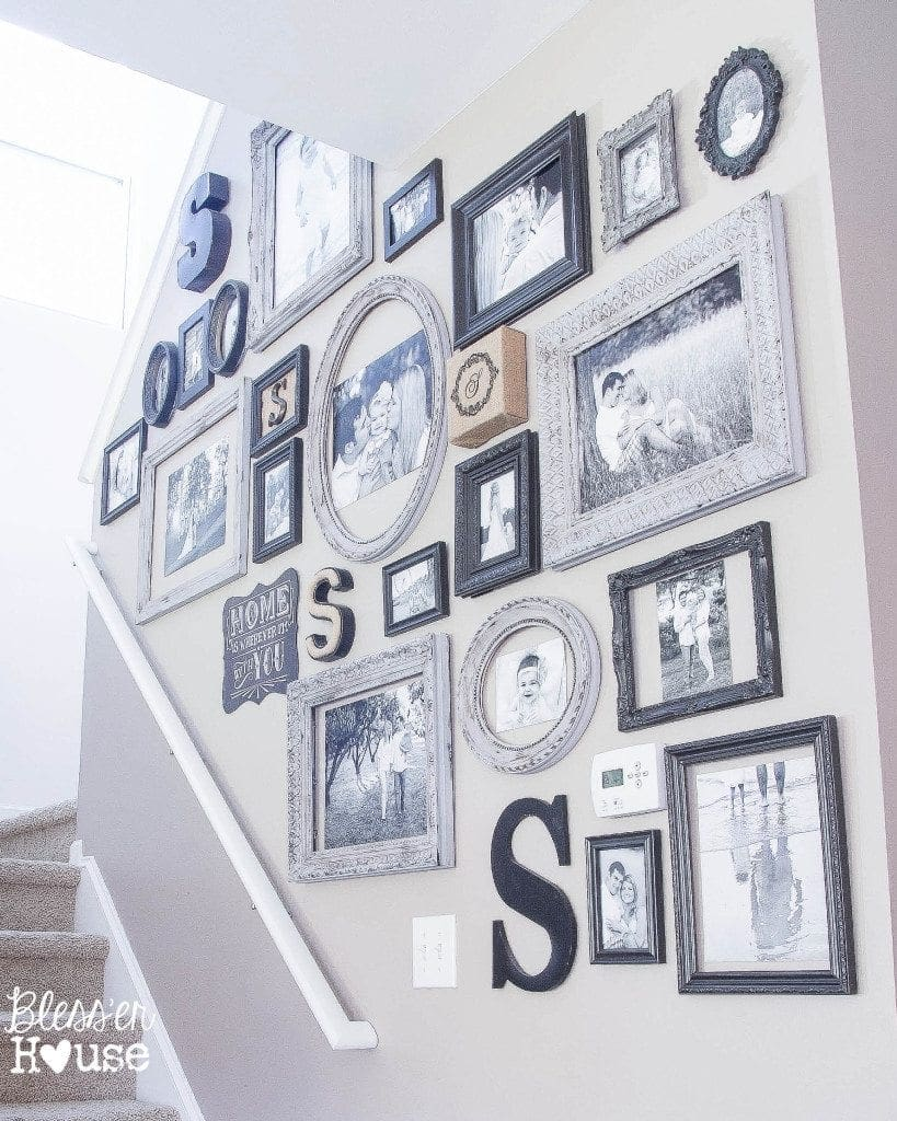 12 Goodwill Shopping Secrets Revealed | Bless'er House -- almost all of the frames on this gallery wall were Goodwill finds. It shows the wide variety of things you can find and how easy it is to DIY it into something beautiful!