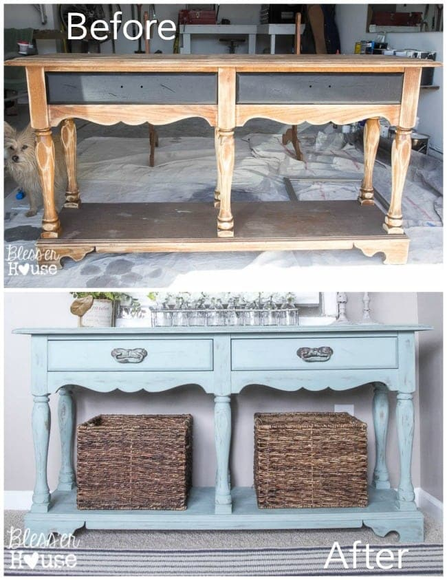 12 Goodwill Shopping Secrets Revealed | Bless'er House -- here is a before and after picture from one of my DIY projects with an old console table I found at Goodwill.
