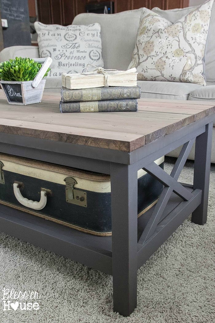 Barn wood top coffee table for Gray wood and metal coffee table