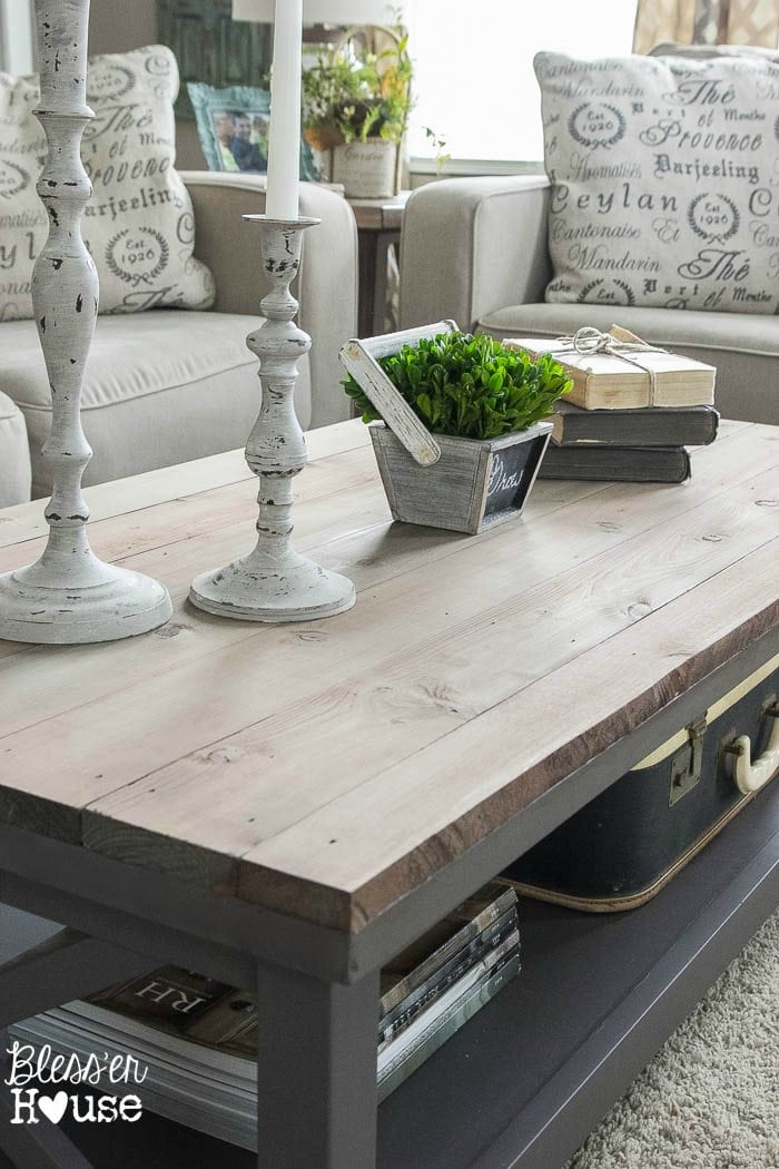 Barn Wood Top Coffee Table Bless Er House Gorgeous Way To Cover Up
