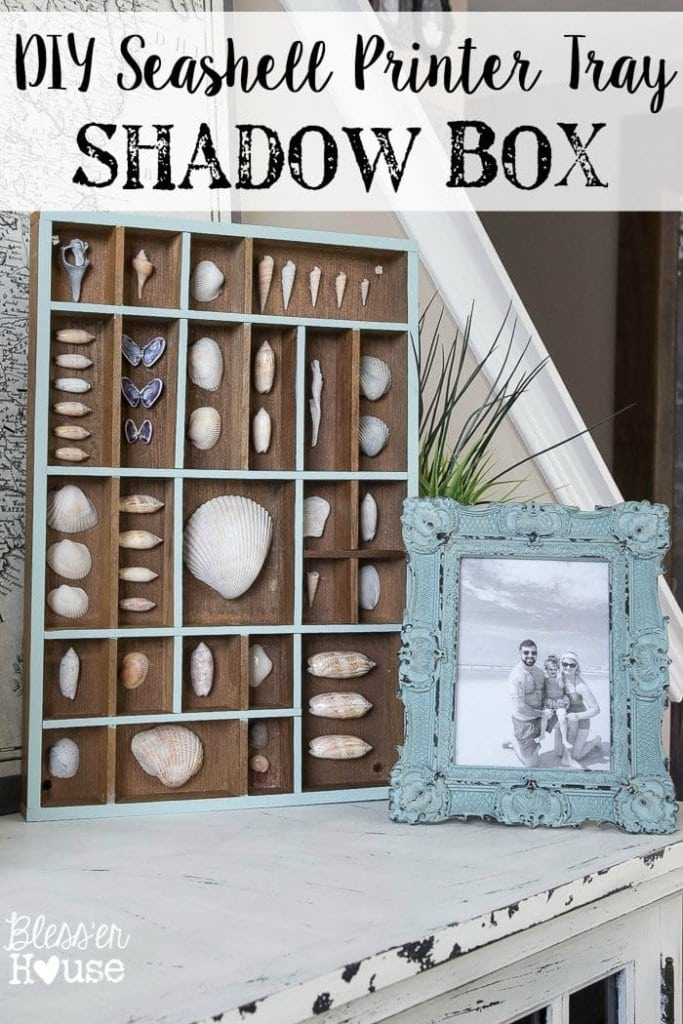 DIY Seashell Printer Tray Shadow Box + Coastal Vignette | Bless'er House