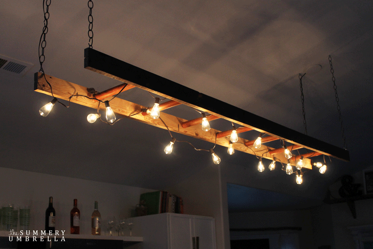 Diy ladder light for Diy kitchen light fixtures