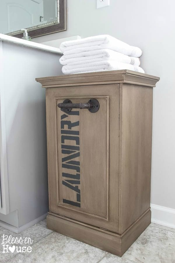 Industrial Style Laundry Hamper Makeover | Bless'er House