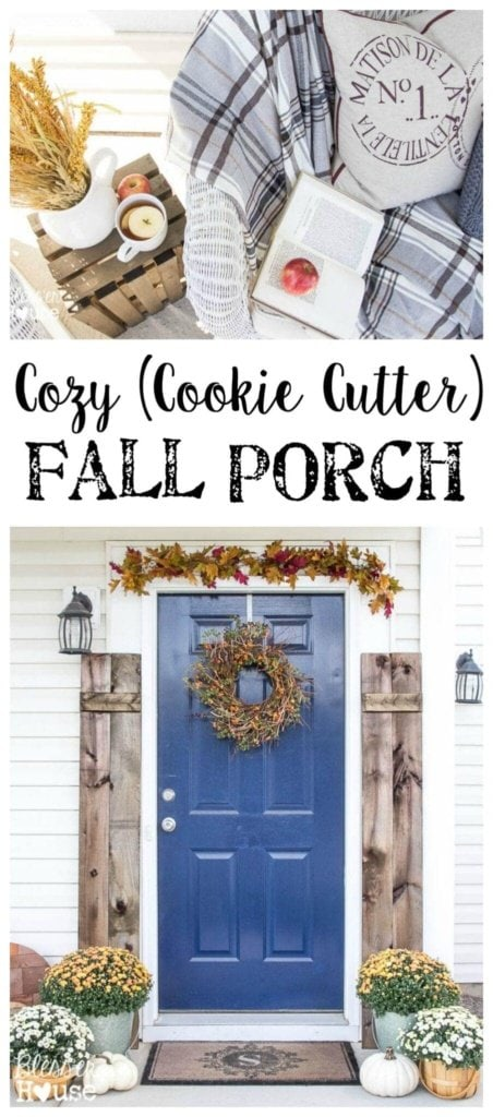 Cozy Cookie Cutter Fall Porch | Bless'er House - Great ideas to bring a rustic style to a builder grade porch!