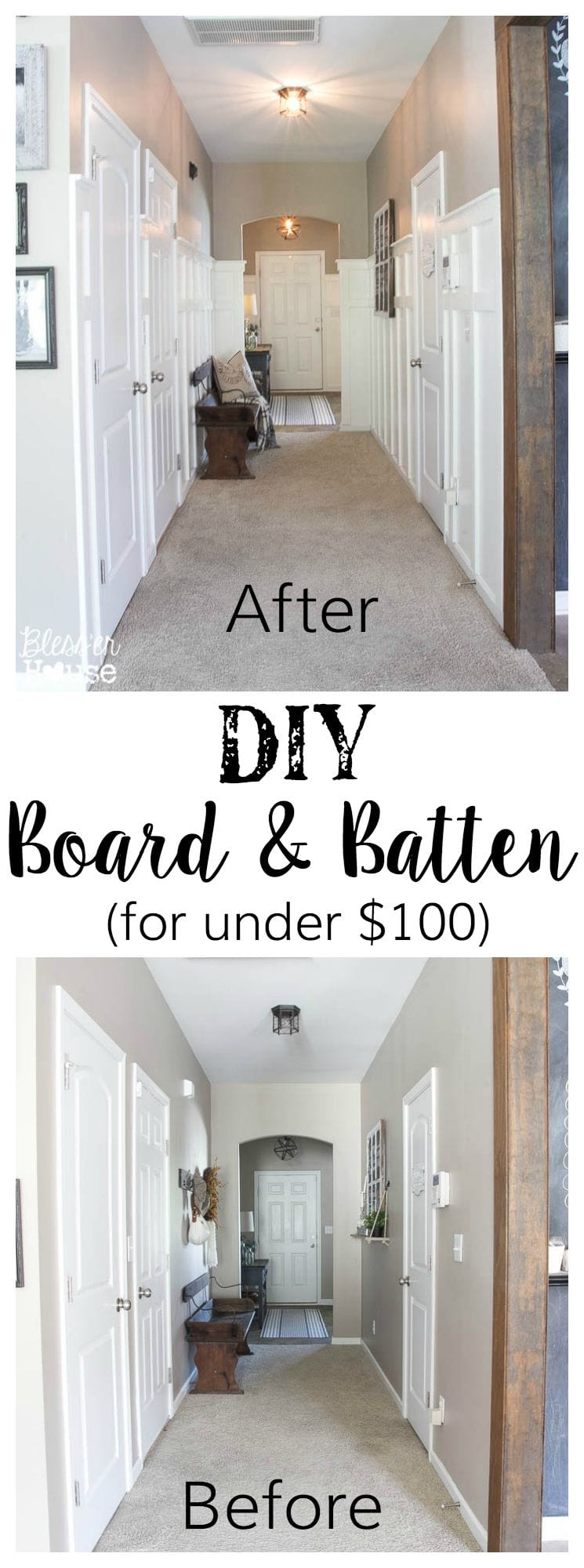 Filed under board and batten wainscoting diy diy projects - Diy Board And Batten For Under 100 Glidden Review Giveaway Bless Er