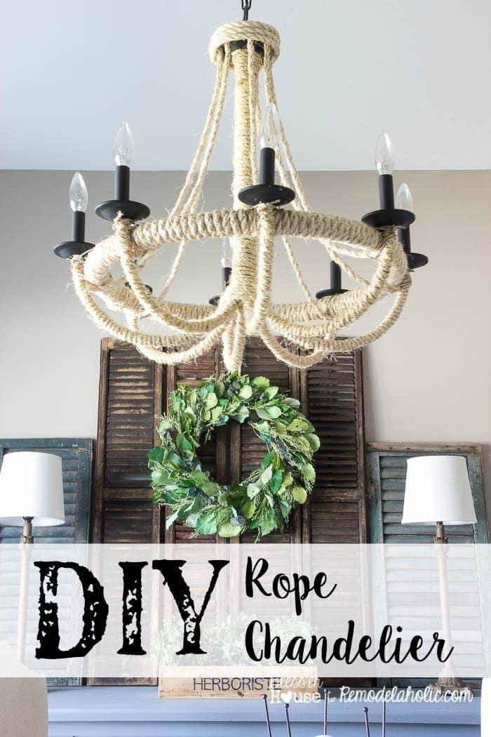 Remodelaholic Diy Rope Chandelier Lighting Update